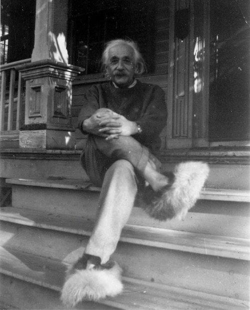 Albert Einstein zu Hause in Princeton