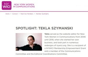 NYWICI: Spotlight on Tekla Szymanski