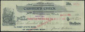 cashier check 1903